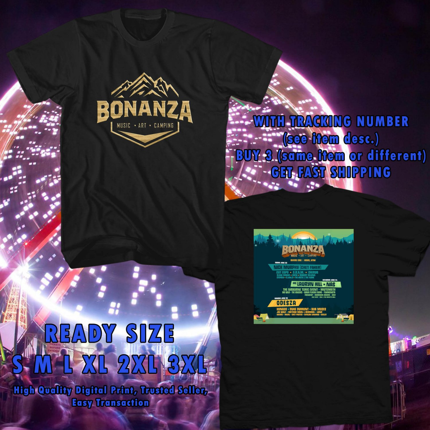 NEW BONANZA CAMPOUT FESTIVAL MAY 2017 black TEE 2 SIDE DMTR 443