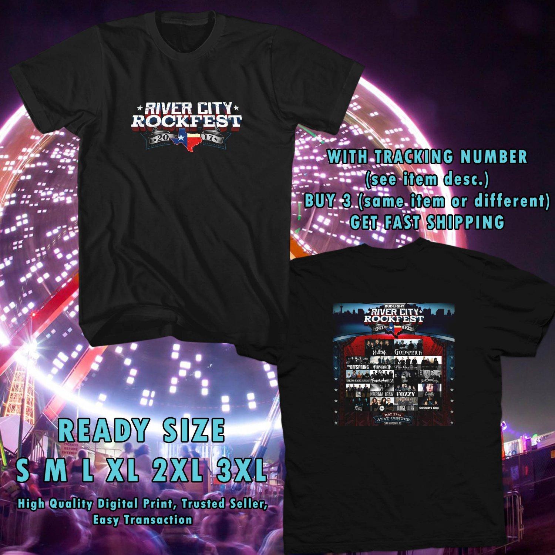 NEW RIVER CITY ROCKFEST MAY 2017 black TEE 2 SIDE DMTR 554