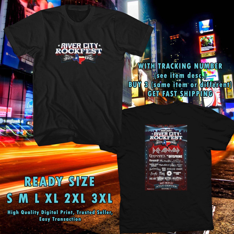 NEW RIVER CITY ROCKFEST MAY 2017 black TEE 2 SIDE DMTR 776