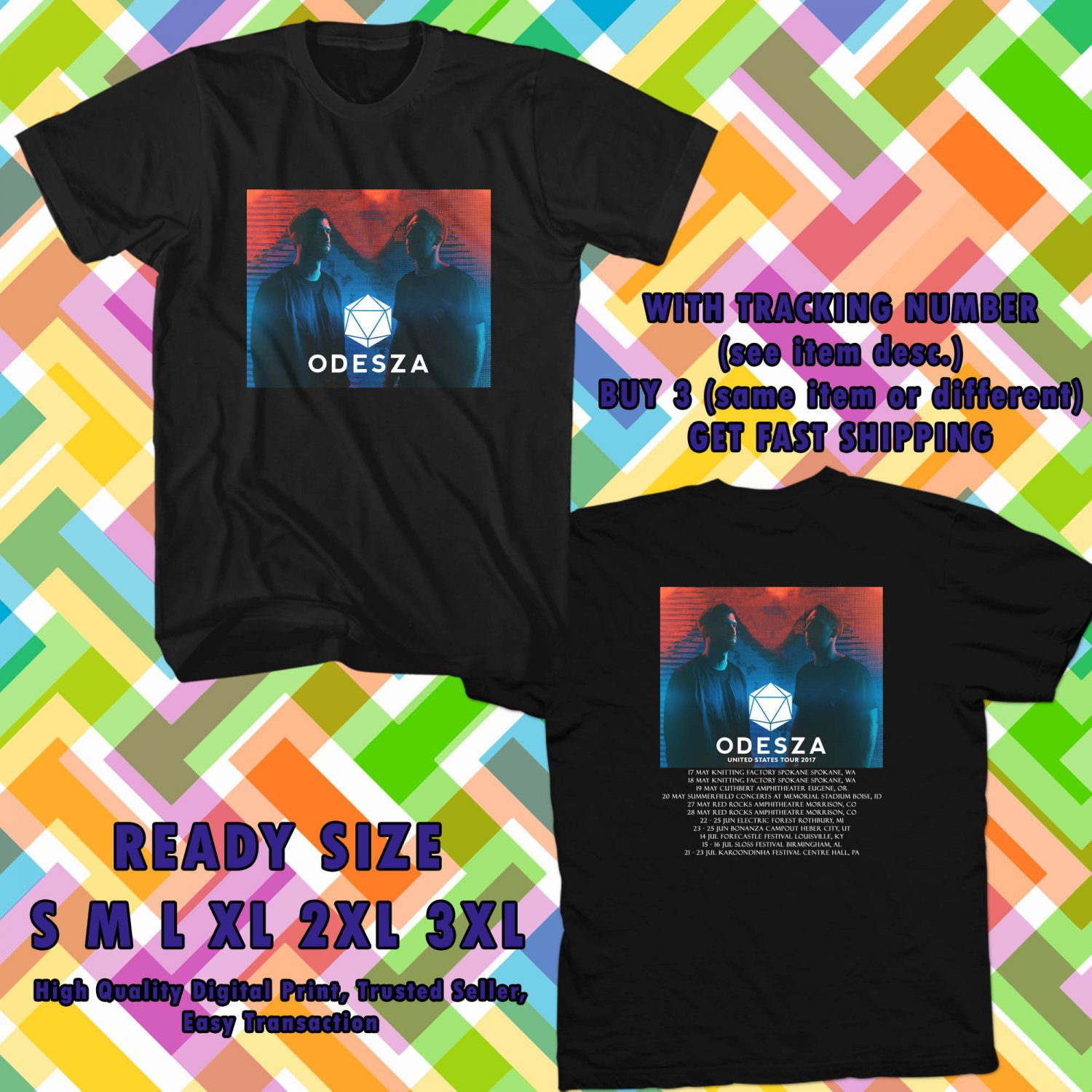 NEW ODESZA UNITED STATES TOUR 2017 black TEE 2 SIDE DMTR 443