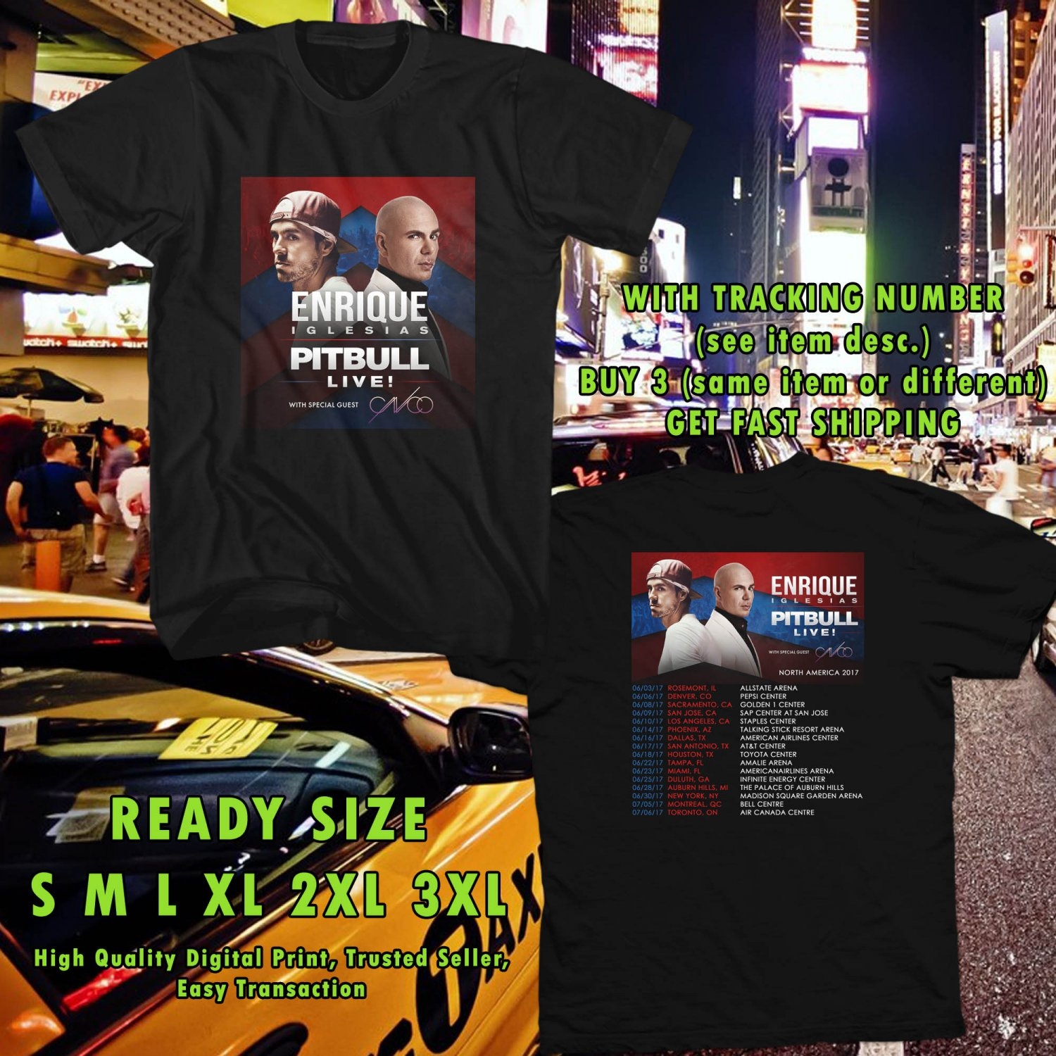 NEW ENRIQUE IGLESIAS AND PITBULL IVE N.AMERICA TOUR 2017 BLACK TEE 2 SIDE DMTR