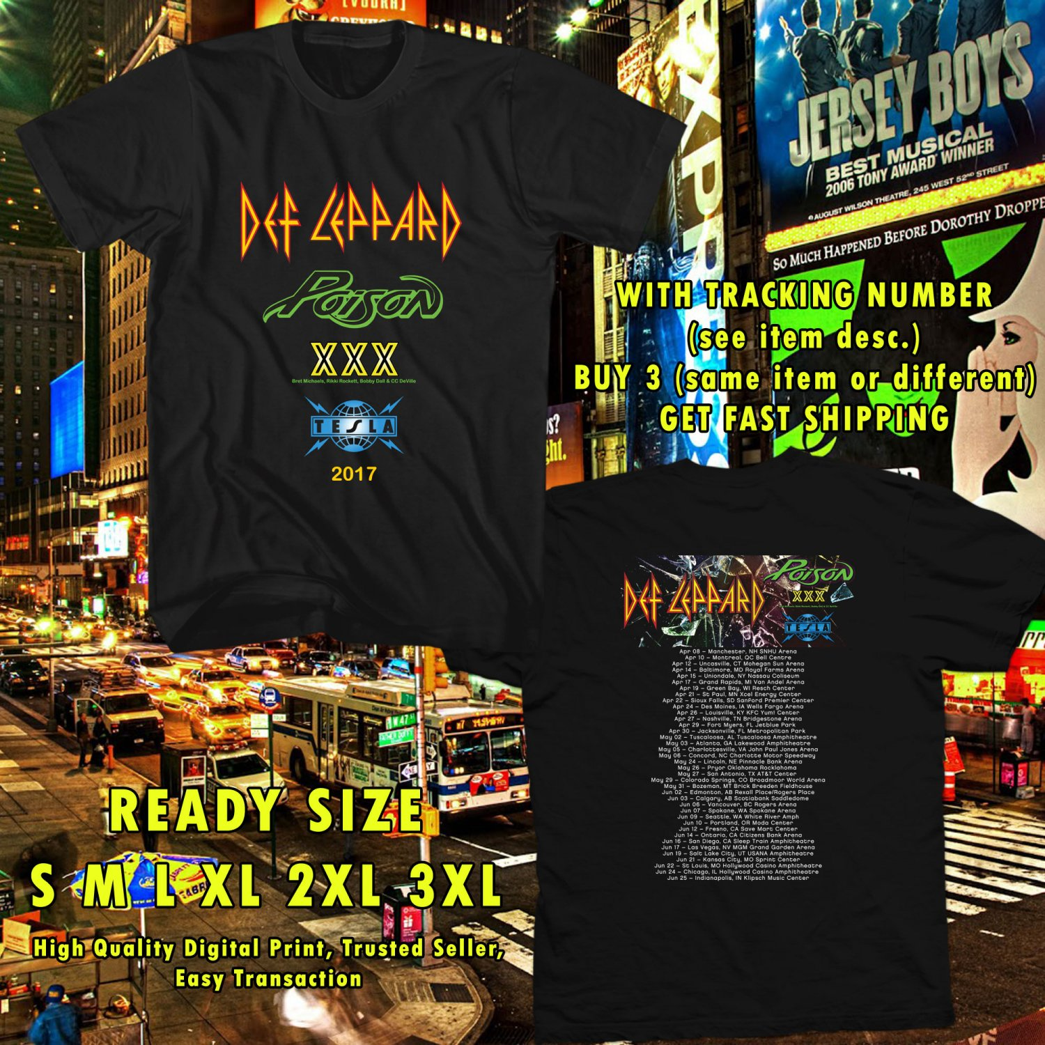 NEW DEF LEPPARD, POSION AND TESLA TOUR 2017 black TEE 2 SIDE DMTR 332