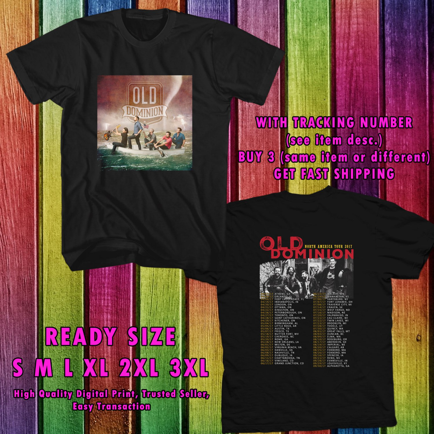 NEW OLD DOMINION NOSUCHTHINGASBROKEN HEART TOUR 2017 BLACK TEE 2 SIDE DMTR