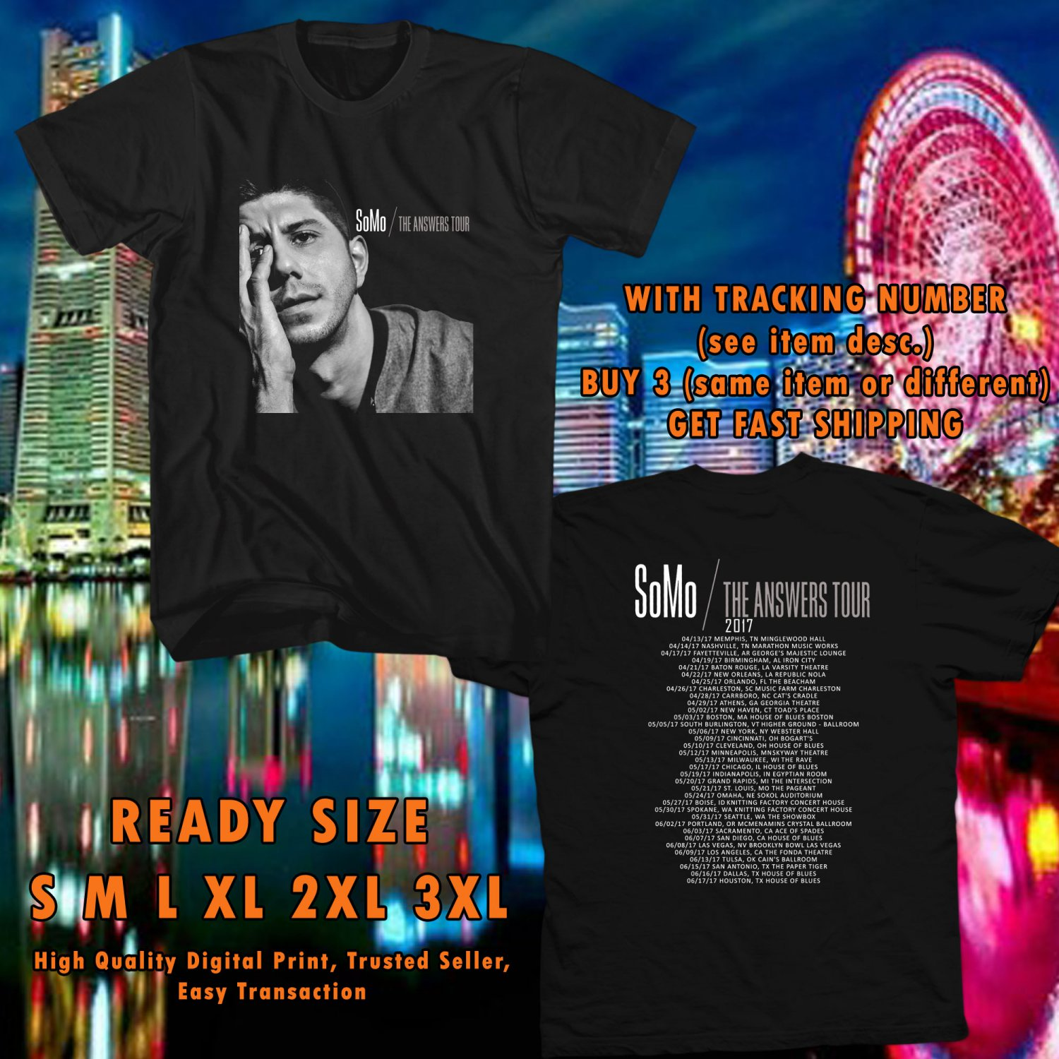 NEW SOMO THE ANSWER TOUR 2017 black TEE 2 SIDE DMTR