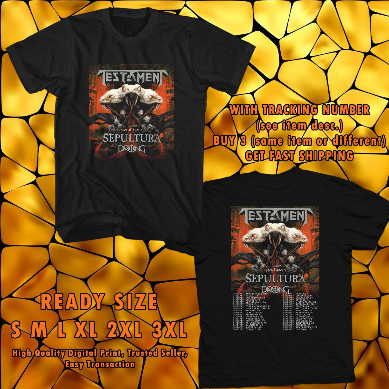 NEW TESTAMENT AND SEPULTURA USA TOUR 2017 black TEE 2 SIDE DMTR