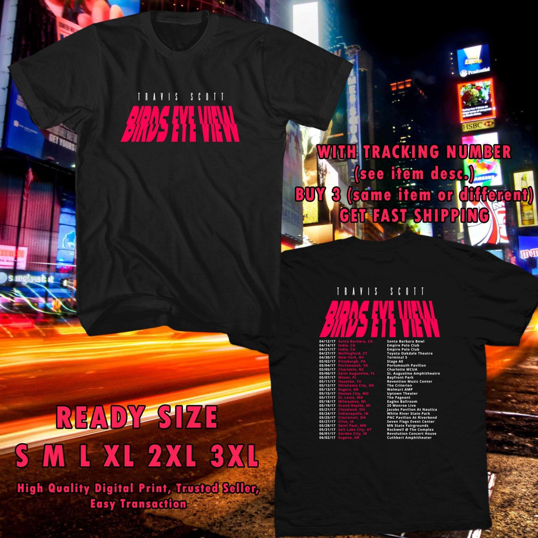 NEW TRAVIS SCOTT BIRDS EYE VIEW TOUR 2017 black TEE 2 SIDE DMTR