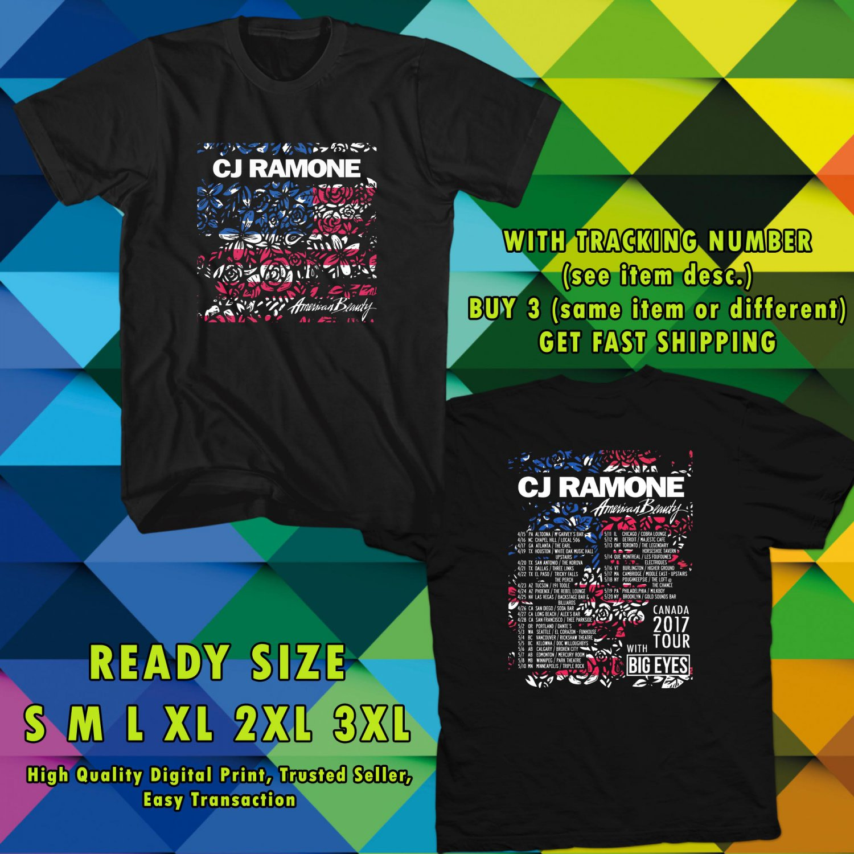 NEW CJ RAMONE AMERICAN BEAUTY TOUR 2017 BLACK TEE W DATES DMTR 554