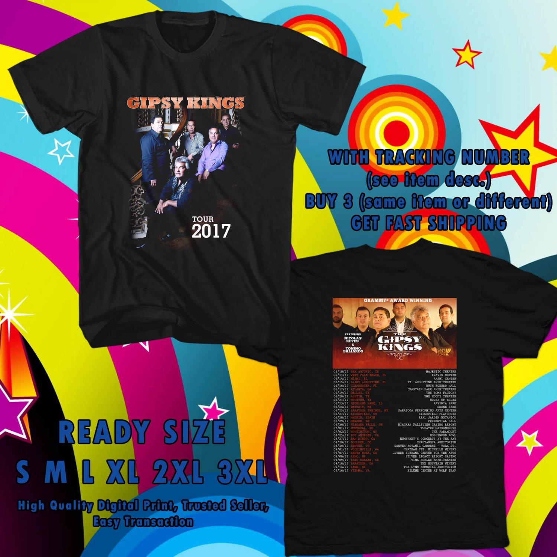 NEW GIPSY KINGS TOUR 2017 BLACK TEE W DATES DMTR 554