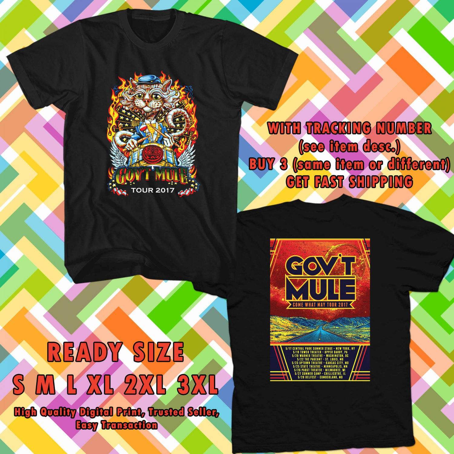 NEW GOVT MULE COME WHAT MAY TOUR 2017 BLACK TEE W DATES DMTR 554