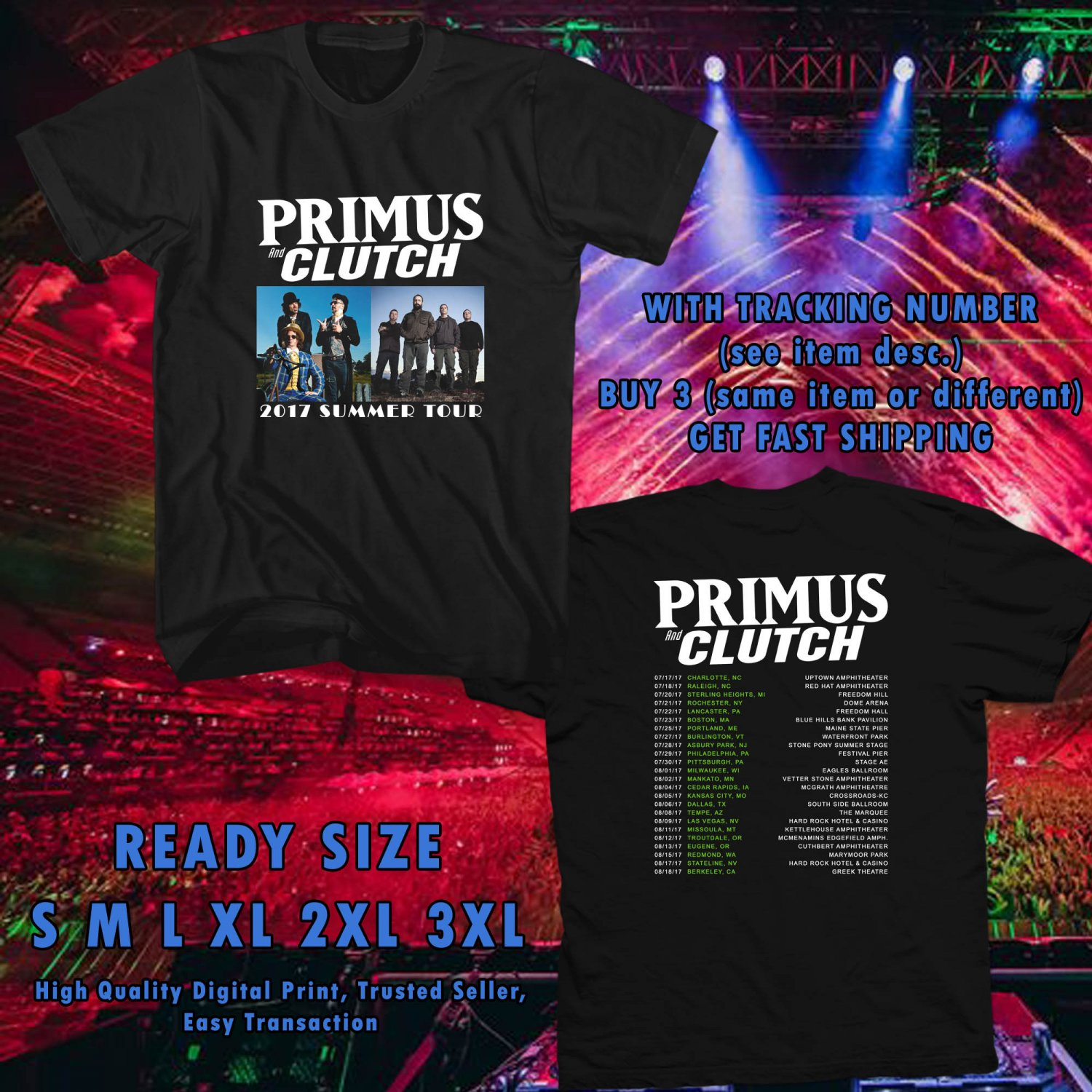 NEW AN EVENING WITH PRIMUS AND CLUTCH SUMMER TOUR 2017 black TEE W DATES DMTR