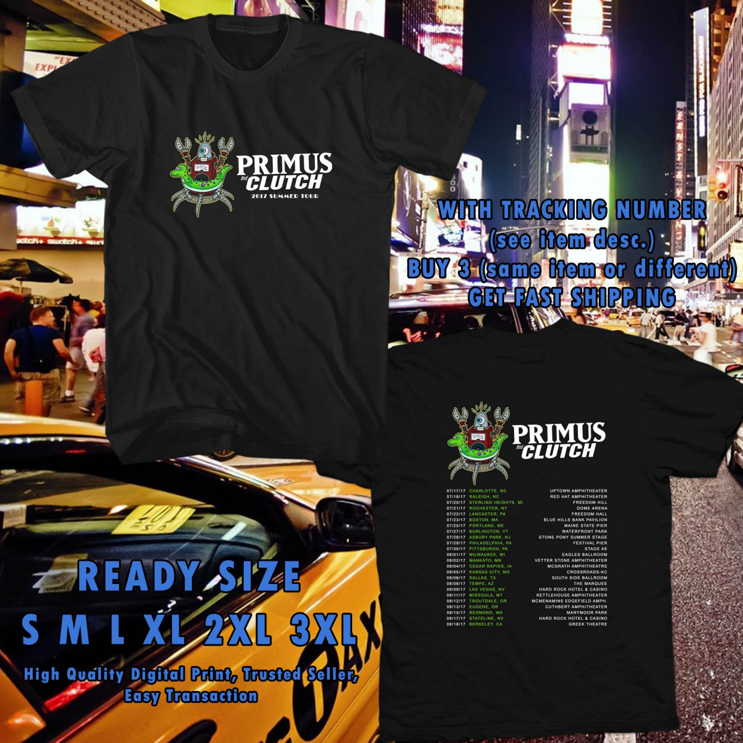 NEW AN EVENING WITH PRIMUS AND CLUTCH SUMMER TOUR 2017 black TEE W DATES DMTR 487