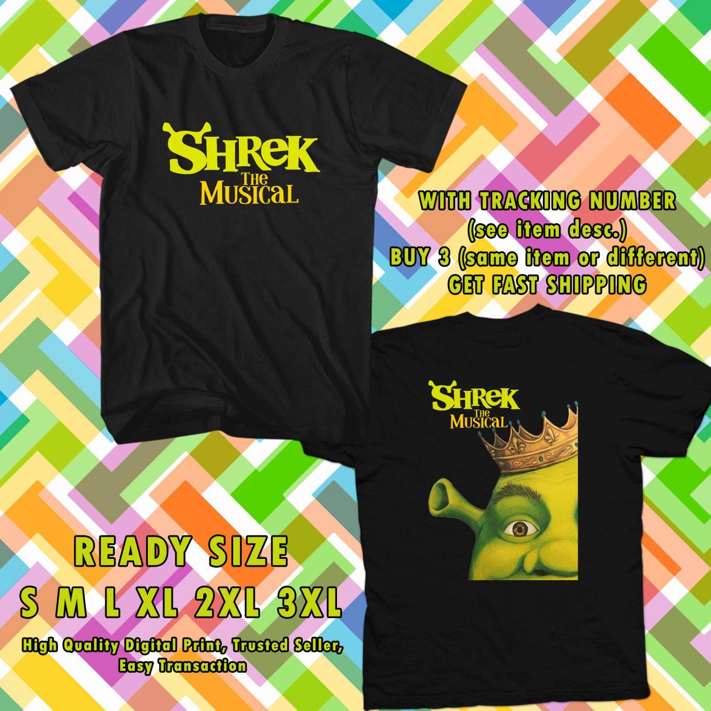NEW SHREK THE MUSICAL TOUR 2017 BLACK TEE 2 SIDE DMTR 657