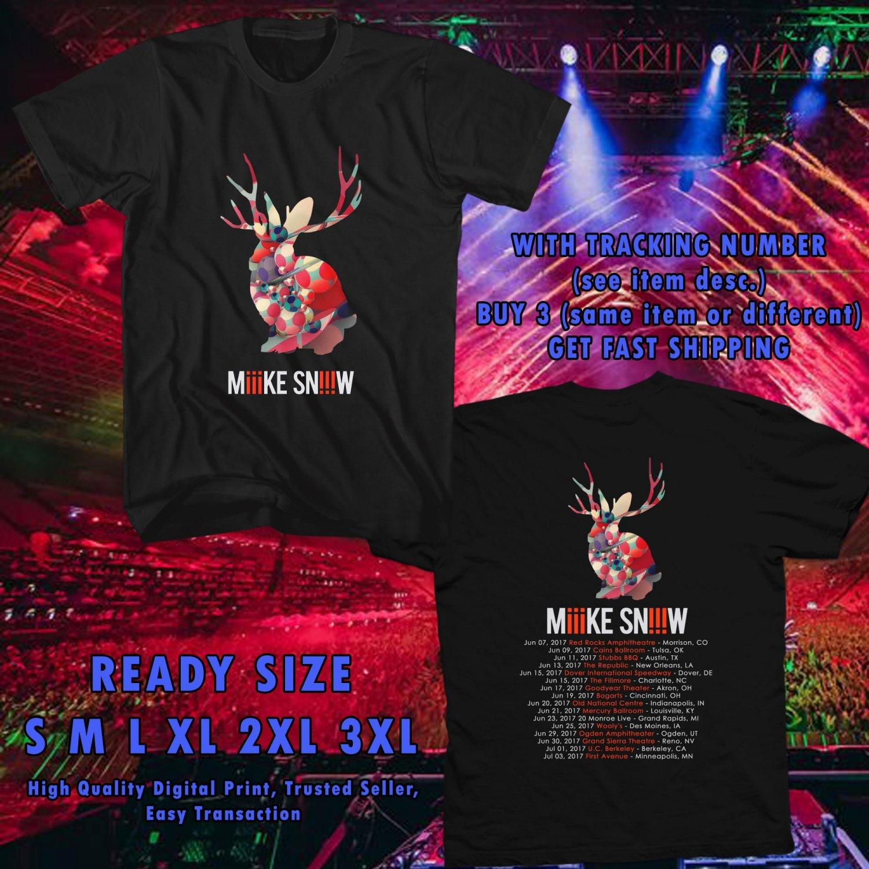 NEW MIIIKE SNIIIW TOUR 2017 BLACK TEE W DATES DMTR