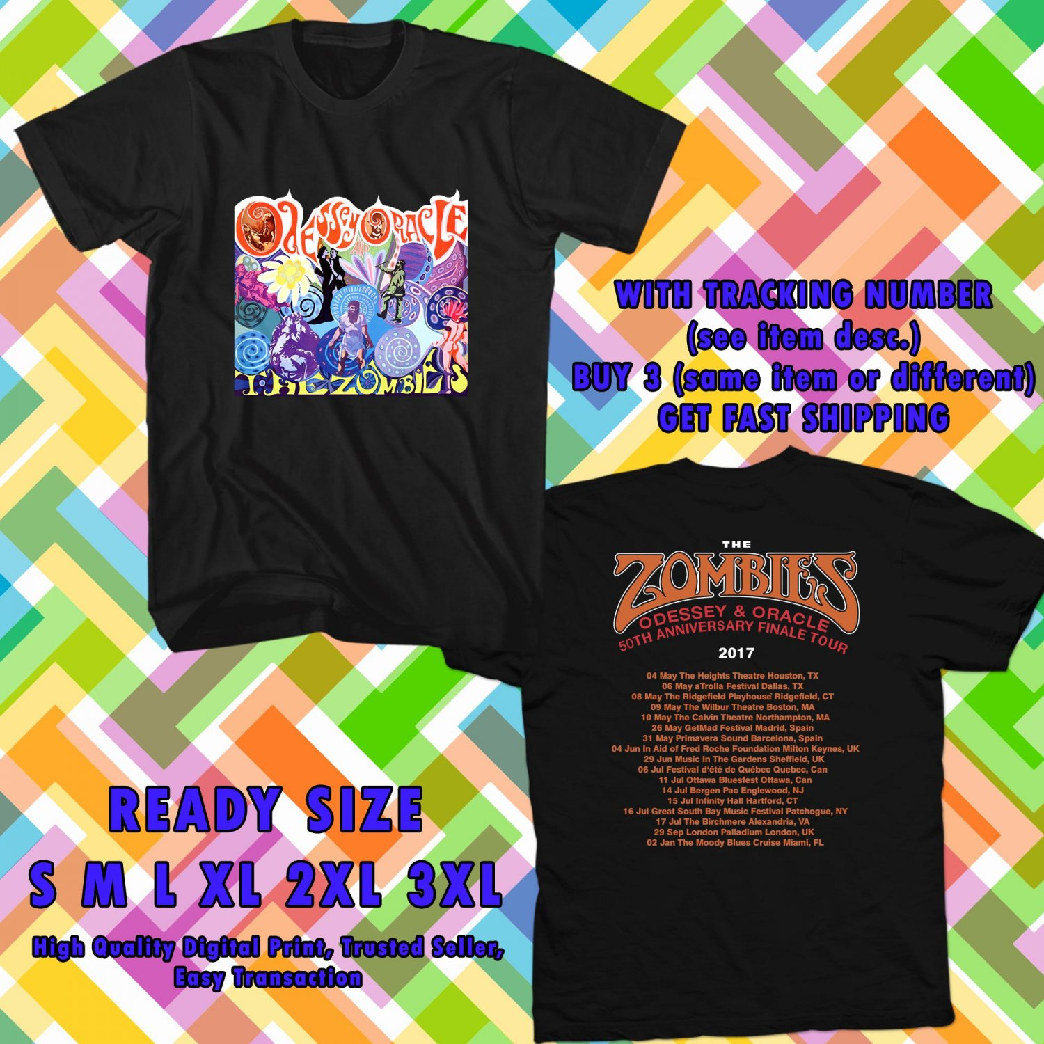 HITS THE ZOMBIES ODESSEY & ORACLE 50TH ANNIV TOUR 2017 BLACK TEE 2SIDE ASTR