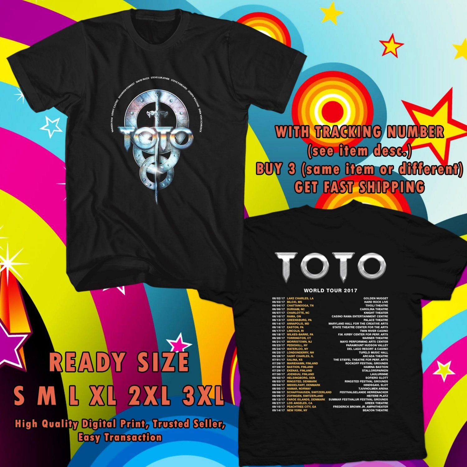 HITS TOTO BAND ON TOUR 2017 BLACK TEE 2SIDE ASTR