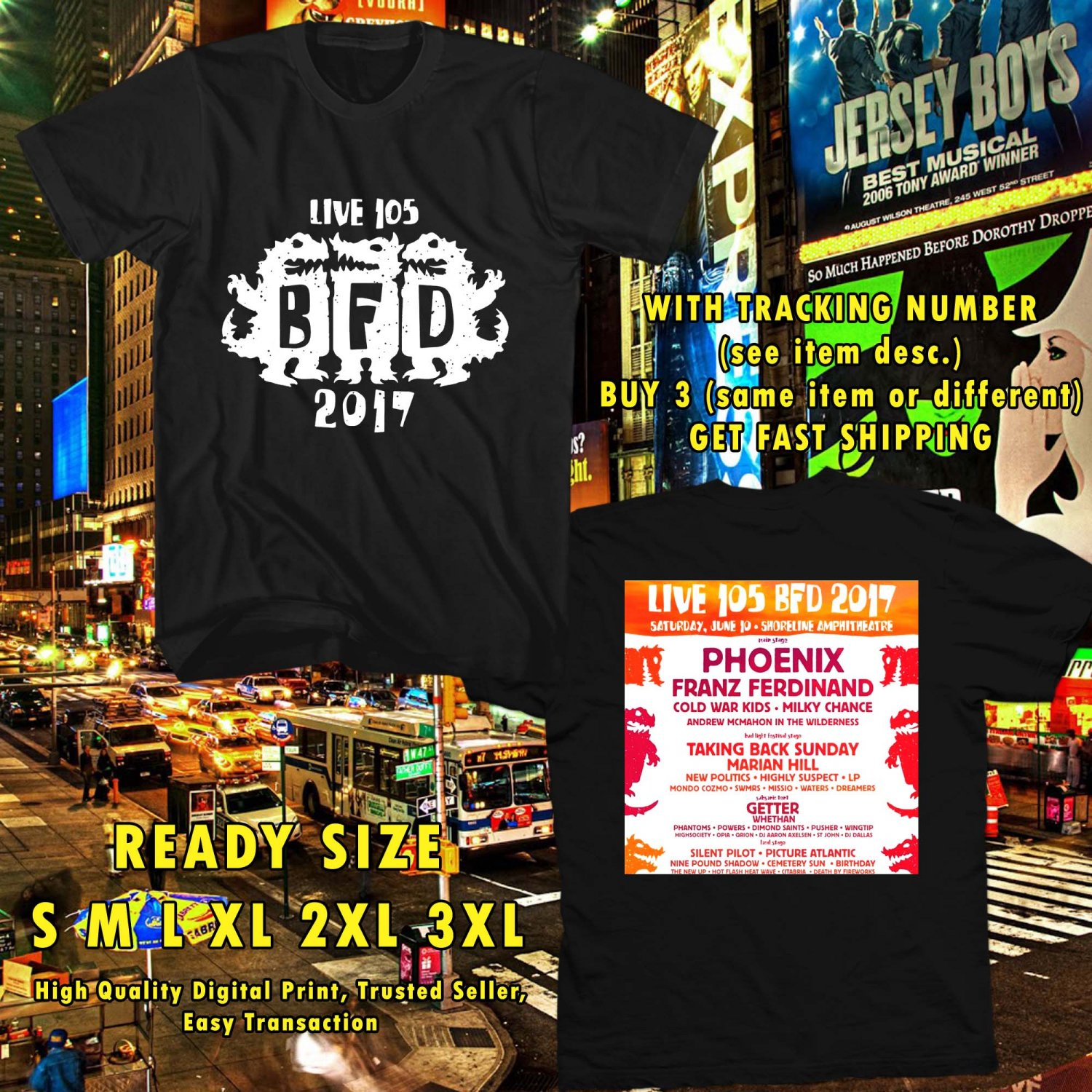 HITS LIVE 105'S BFD FESTIVAL JUN 2017 BLACK TEE'S 2SIDE MAN WOMEN ASTR 447