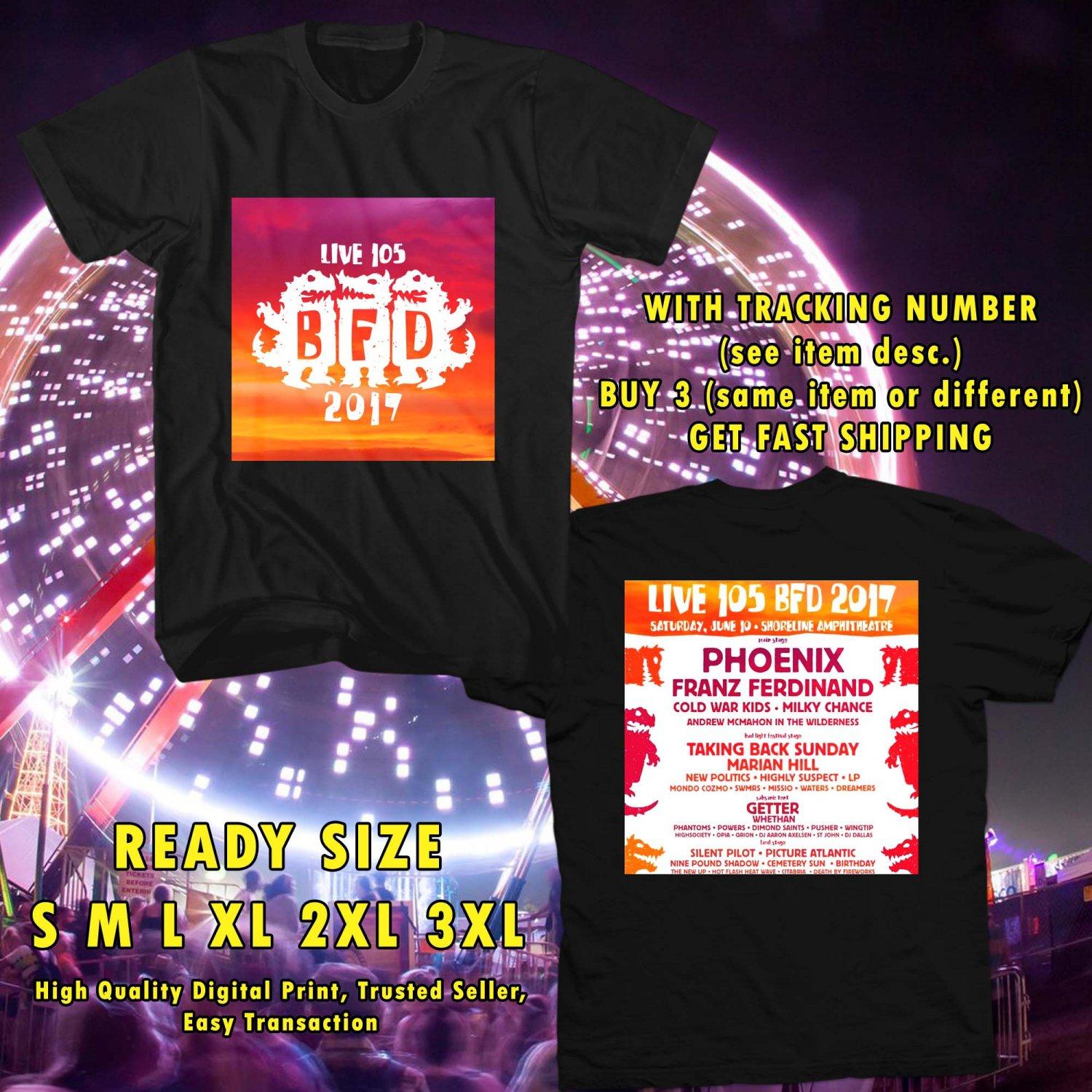HITS LIVE 105'S BFD FESTIVAL JUN 2017 BLACK TEE'S 2SIDE MAN WOMEN ASTR 1`12