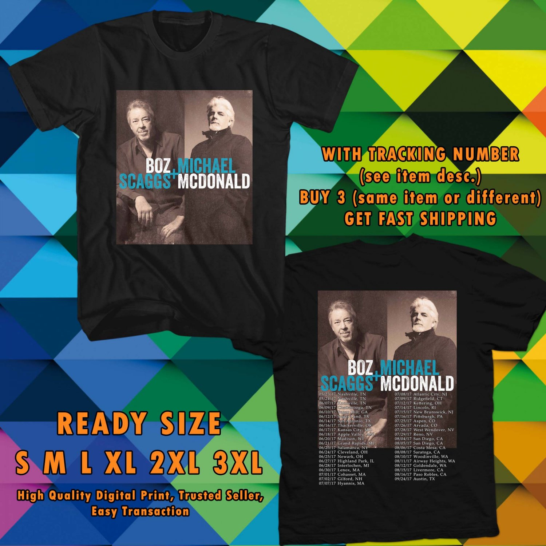 HITS BOZZ SCAGGS & MICHAEL McDONALD TOUR 2017 BLACK TEE'S 2SIDE MAN WOMEN ASTR