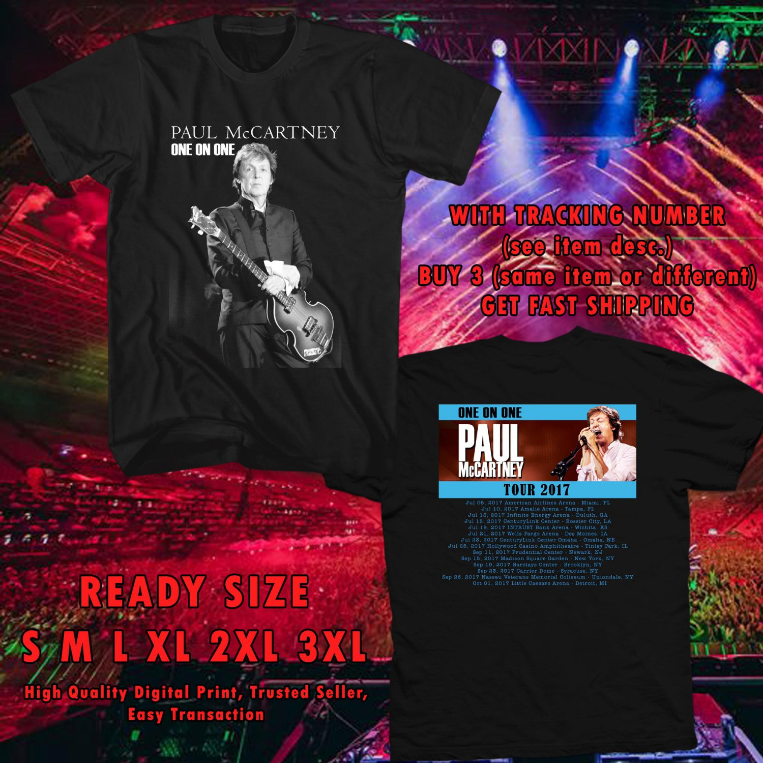 HITS PAUL McCARTNEY ADD ONE ON ONE TOUR 2017 BLACK TEE'S 2SIDE MAN WOMEN ASTR 332