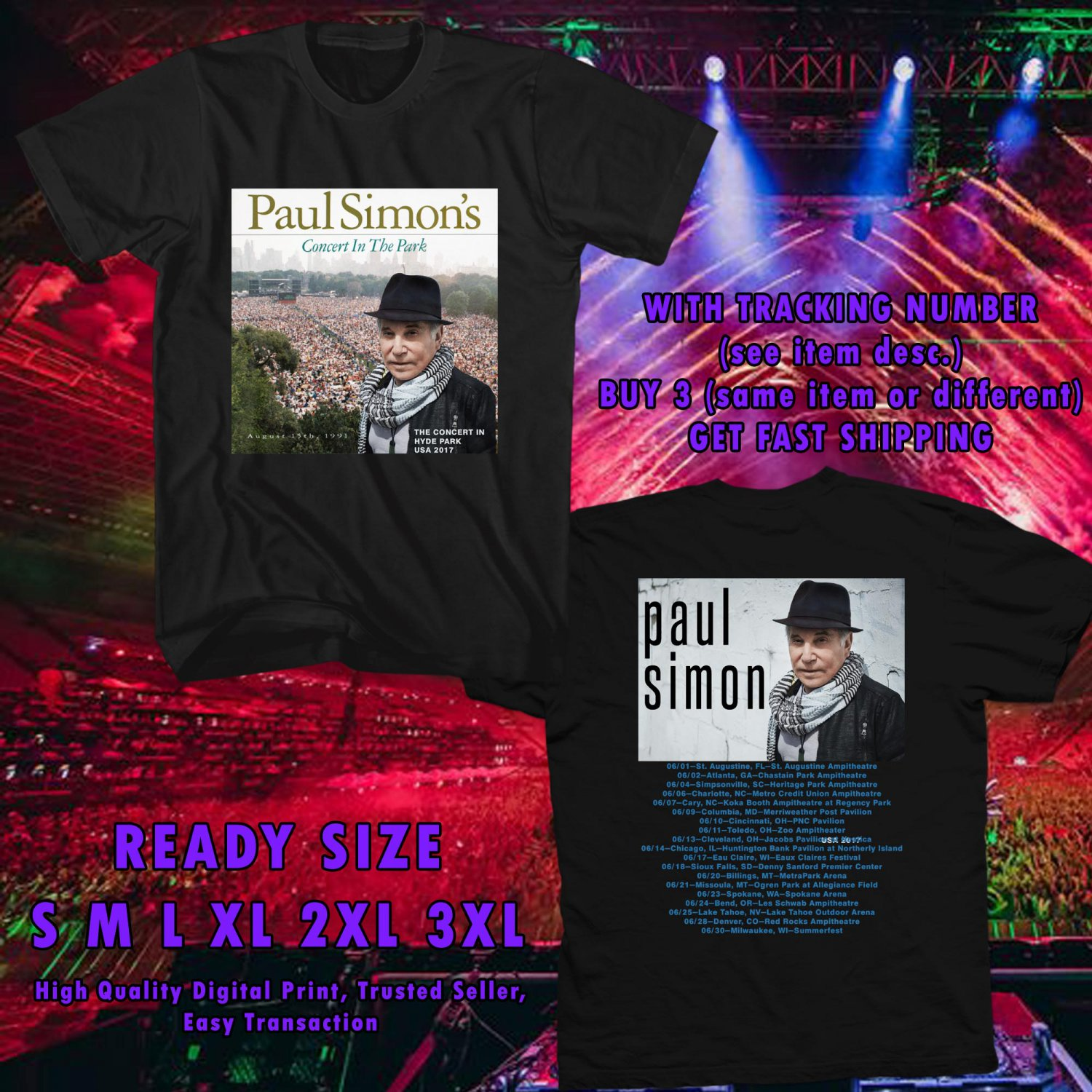 HITS PAUL SIMONS CONCERT IN HYDE PARK US 2017 BLACK TEE'S 2SIDE MAN WOMEN ASTR