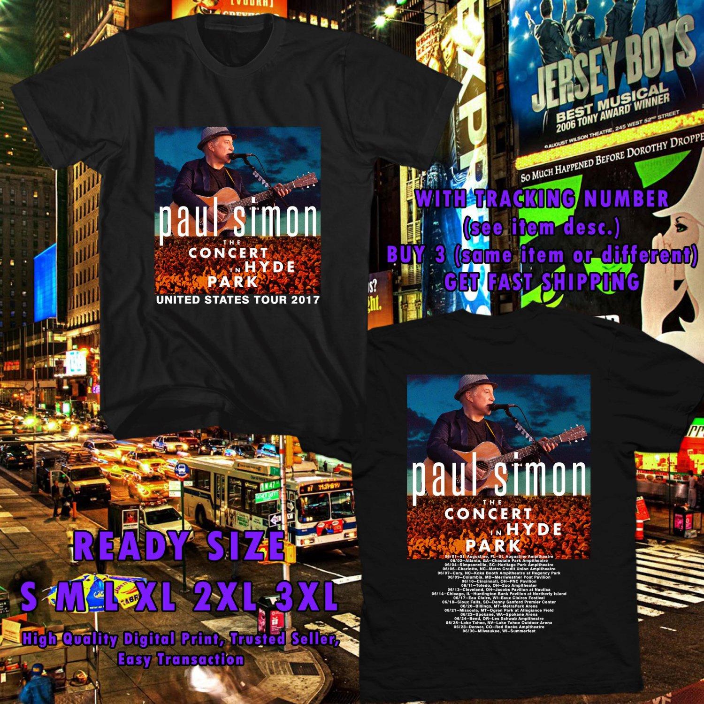 HITS PAUL SIMONS CONCERT IN HYDE PARK US 2017 BLACK TEE'S 2SIDE MAN WOMEN ASTR 668