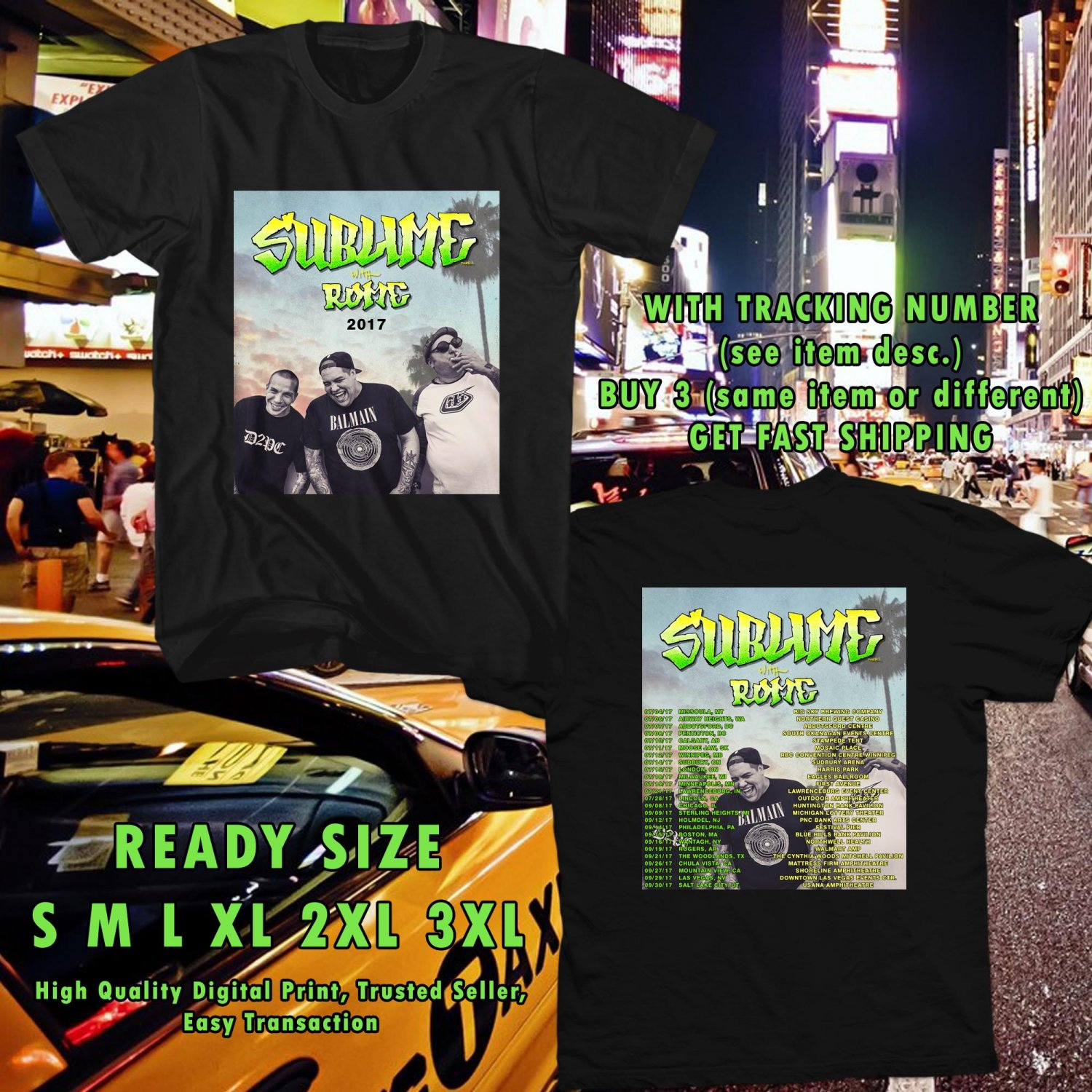 HITS SUBLIME WITH ROME N.AMERICA TOUR 2017 BLACK TEE'S 2SIDE MAN WOMEN ASTR