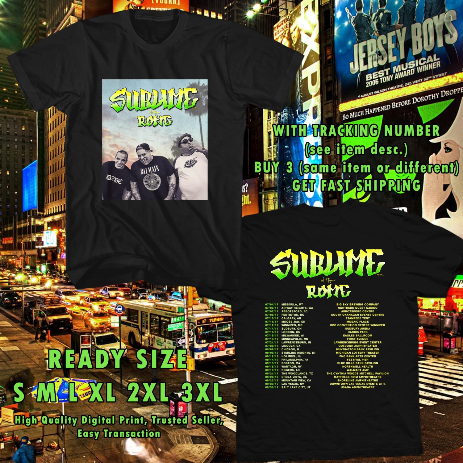 HITS SUBLIME WITH ROME N.AMERICA TOUR 2017 BLACK TEE'S 2SIDE MAN WOMEN ASTR 944