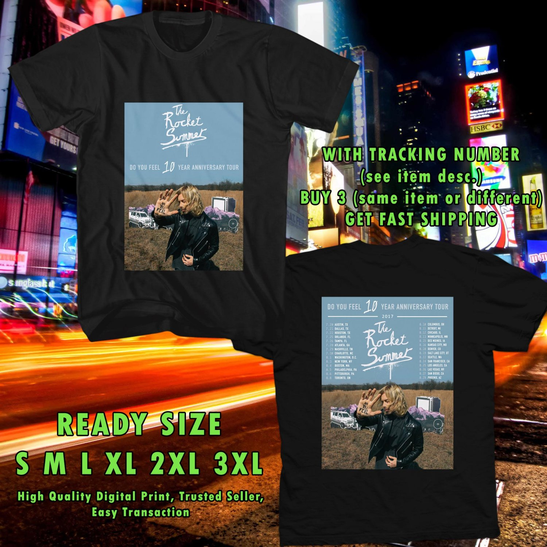 HITS ROCKET SUMMER : DO YOU FEEL 10 YEARS TOUR 2017 BLACK TEE'S 2SIDE MAN WOMEN ASTR 009