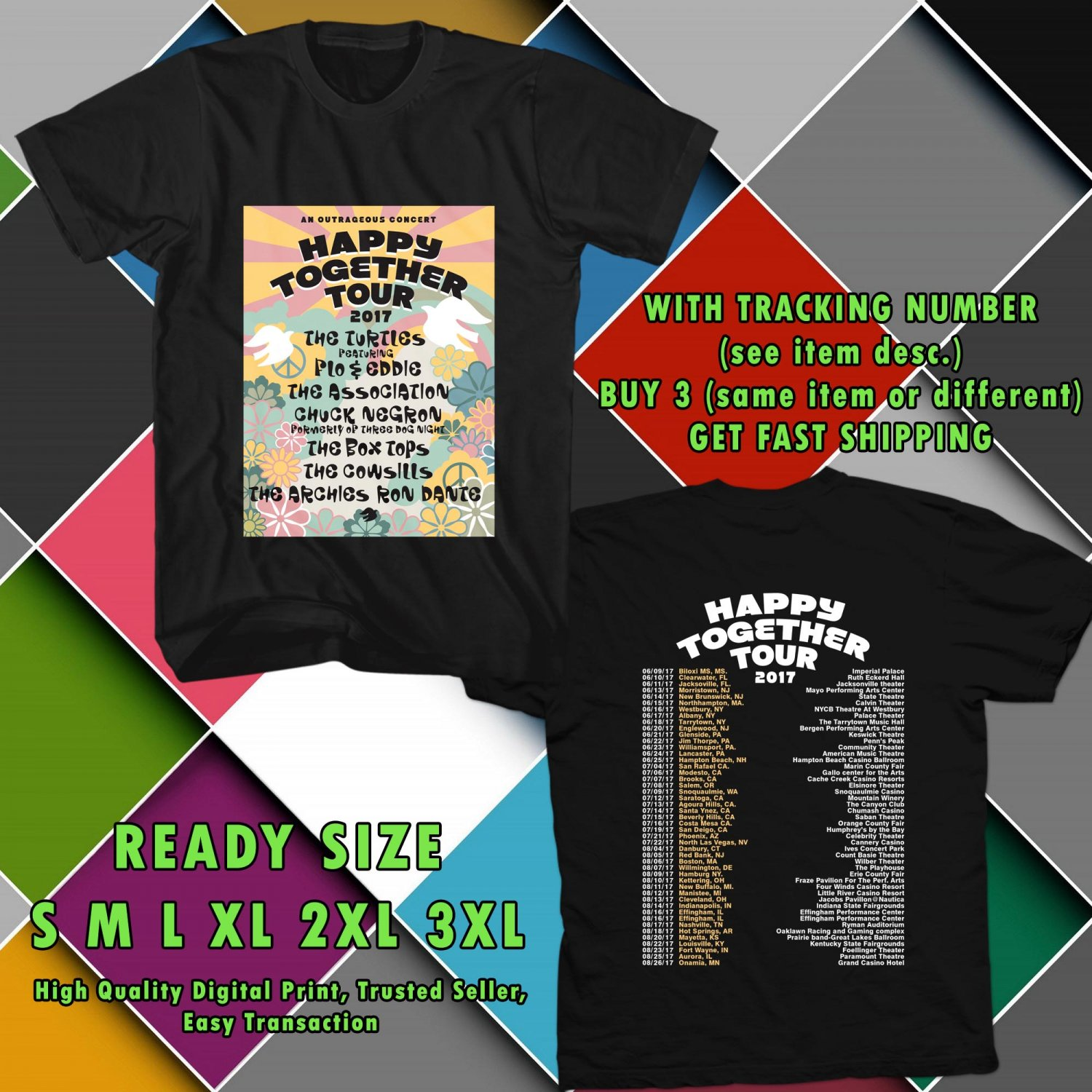 HITS HAPPY TOGETHER TOUR 2017 BLACK TEE'S 2SIDE MAN WOMEN ASTR