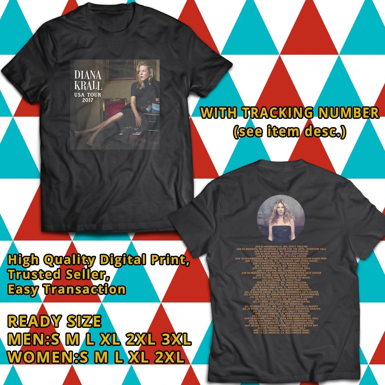 HITS DIANA KRALL UNITED STATES TOUR 2017 BLACK TEE'S 2SIDE MAN WOMEN ASTR