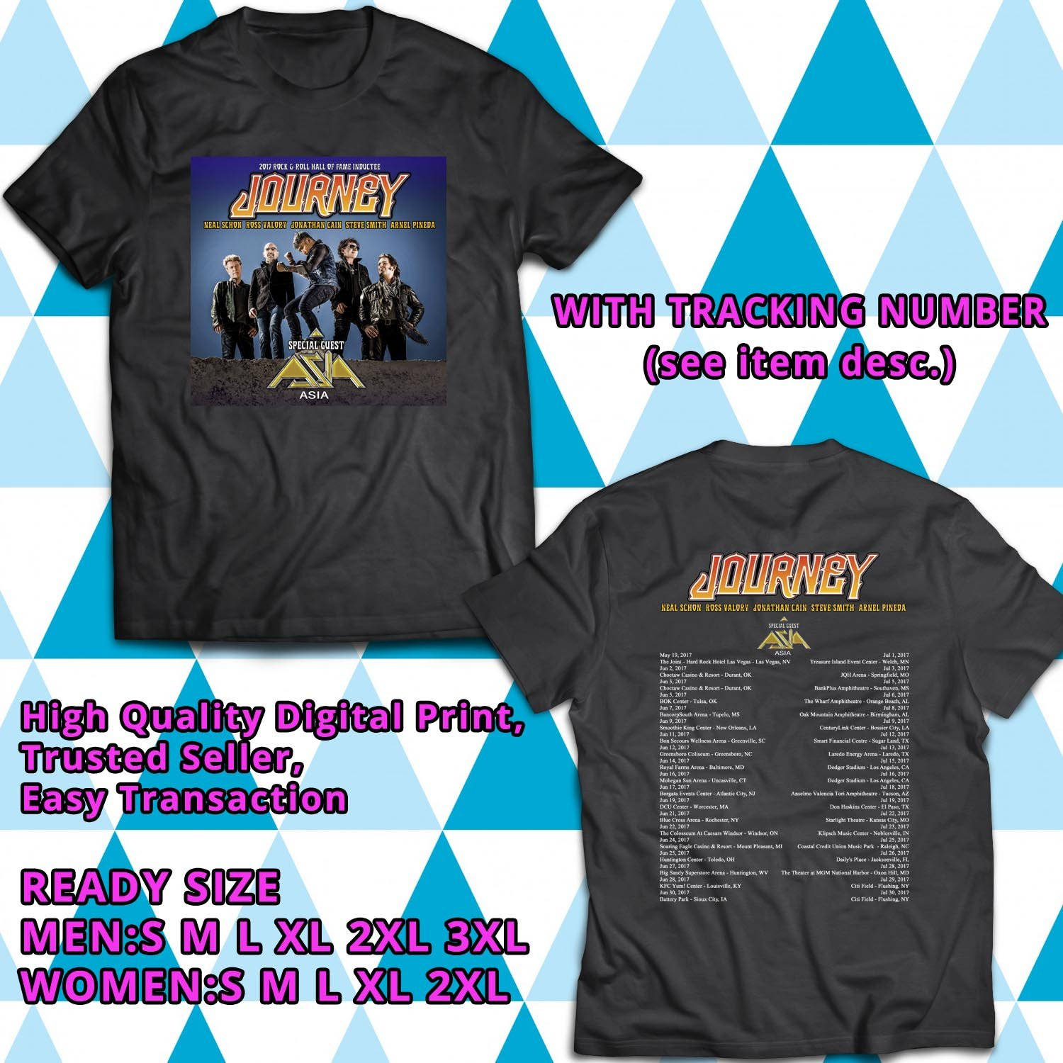 HITS JOURNEY AND ASIA NORTH AMERICA 2017 BLACK TEE'S 2SIDE MAN WOMEN ASTR