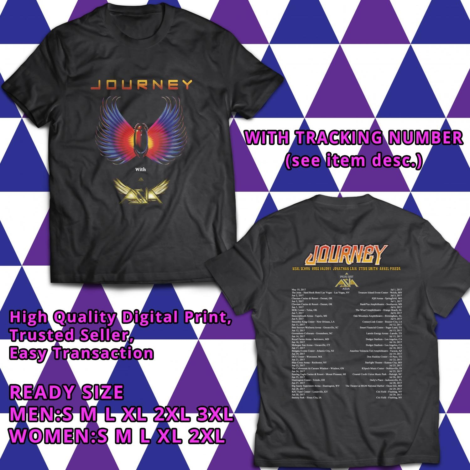 HITS JOURNEY AND ASIA NORTH AMERICA 2017 BLACK TEE'S 2SIDE MAN WOMEN ASTR 443