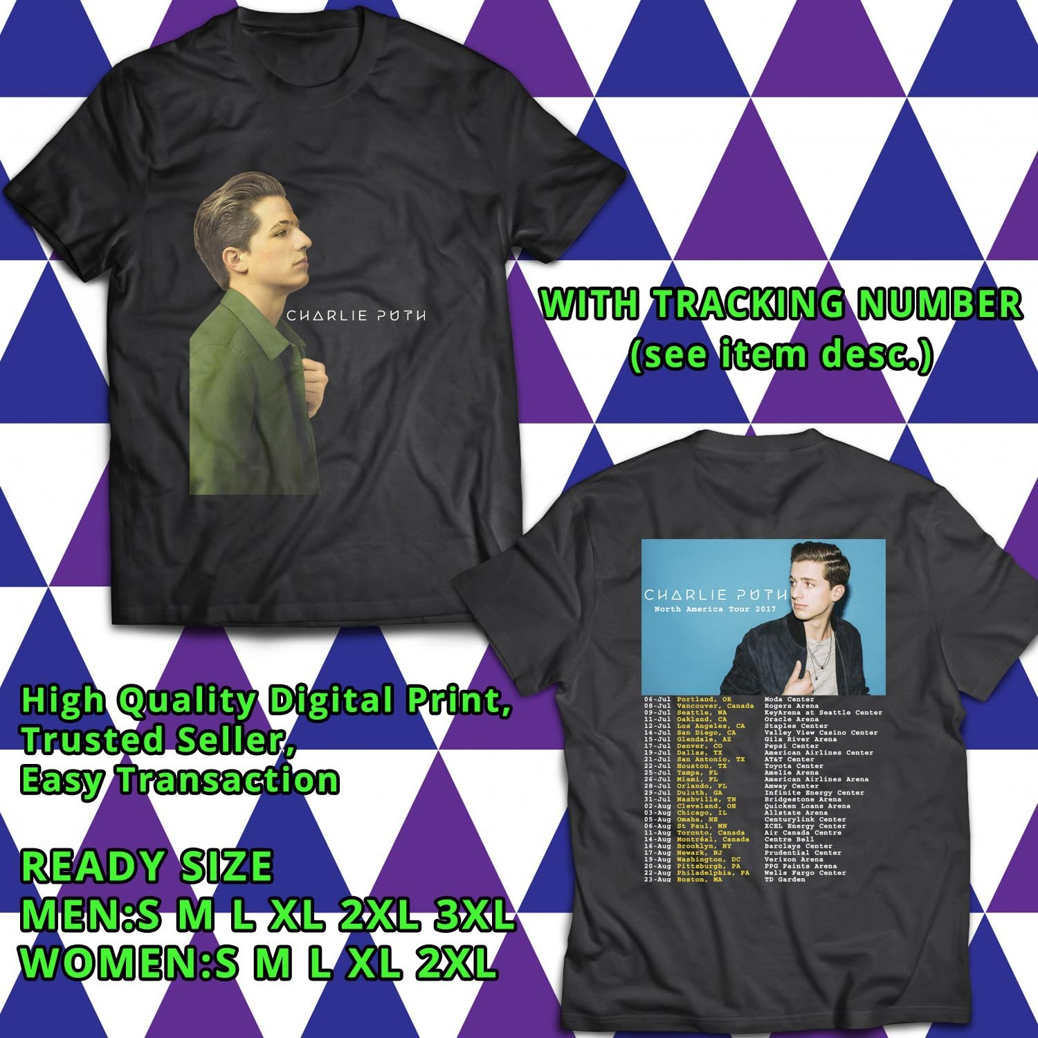 HITS CHARLIE PUTH NORTH AMERICA TOUR 2017 BLACK TEE'S 2SIDE MAN WOMEN ASTR 554