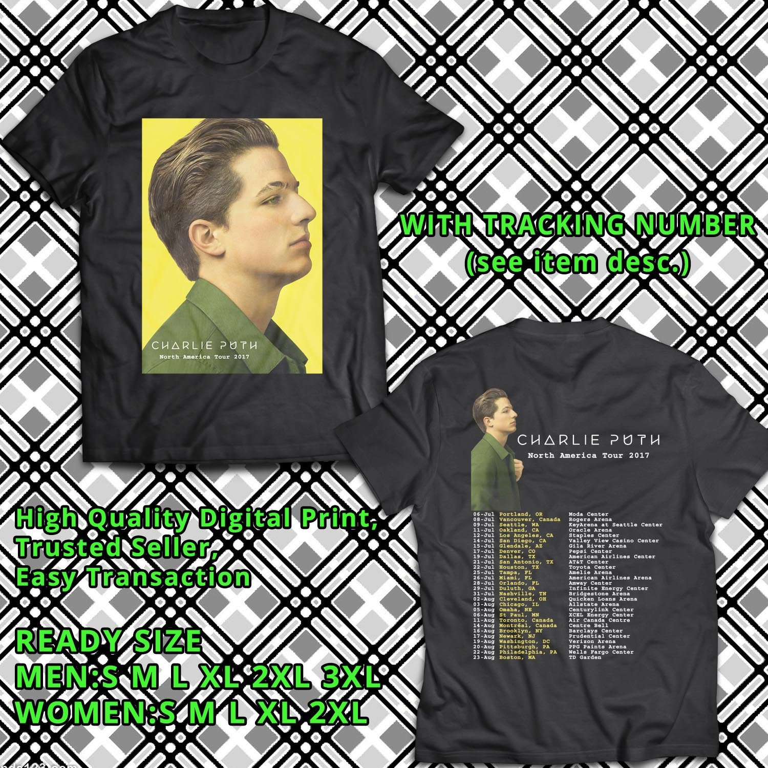 HITS CHARLIE PUTH NORTH AMERICA TOUR 2017 BLACK TEE'S 2SIDE MAN WOMEN ASTR 776