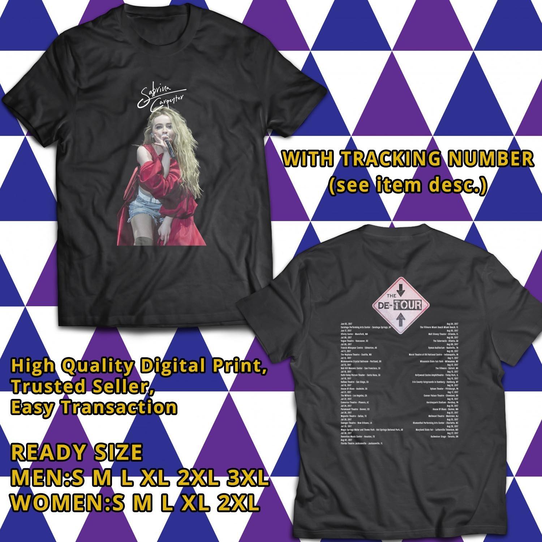 HITS SABRINA CARPENTER THE DE TOUR 2017 BLACK TEE'S 2SIDE MAN WOMEN ASTR