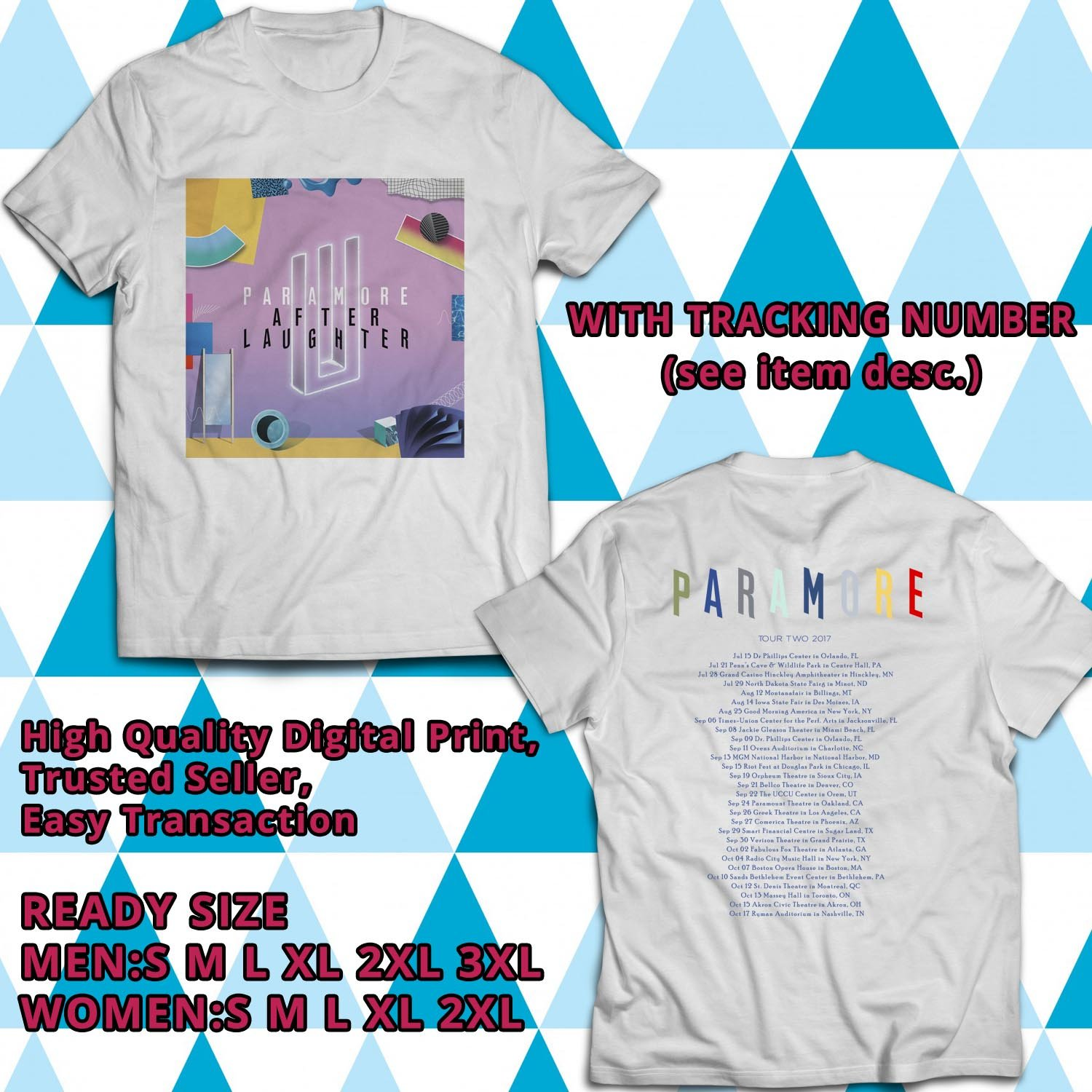 HITS PARAMORE AFTER LAUGHTER ALBUM TOUR TWO 2017 WHITE TEE'S 2SIDE MAN WOMEN ASTR