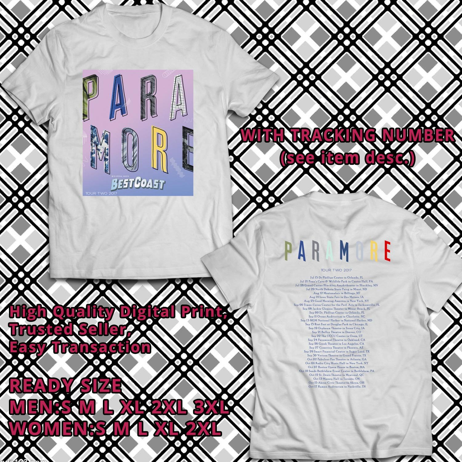 HITS PARAMORE AFTER LAUGHTER ALBUM TOUR TWO 2017 WHITE TEE'S 2SIDE MAN WOMEN ASTR 667