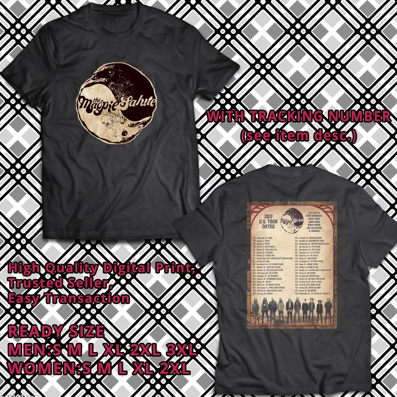 HITS THE MAGPIE SALUTE UNITED STATES TOUR 2017 BLACK TEE'S 2SIDE MAN WOMEN ASTR 721