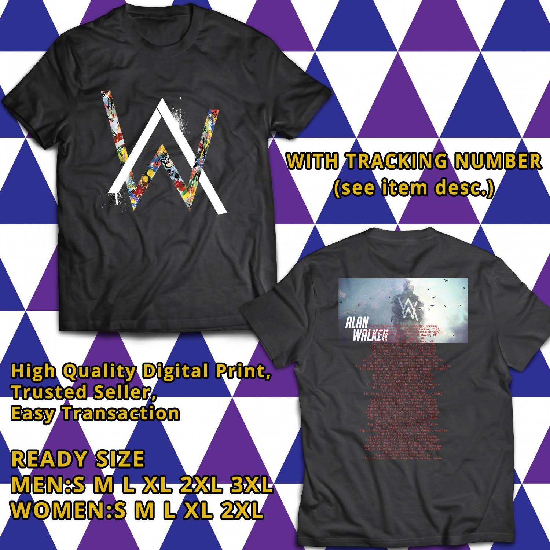 HITS ALAN WALKER WORLD SUMMER TOUR 2017 BLACK TEE'S 2SIDE MAN WOMEN ASTR
