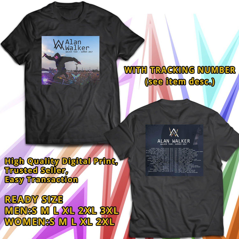 HITS ALAN WALKER WORLD SUMMER TOUR 2017 BLACK TEE'S 2SIDE MAN WOMEN ASTR 776