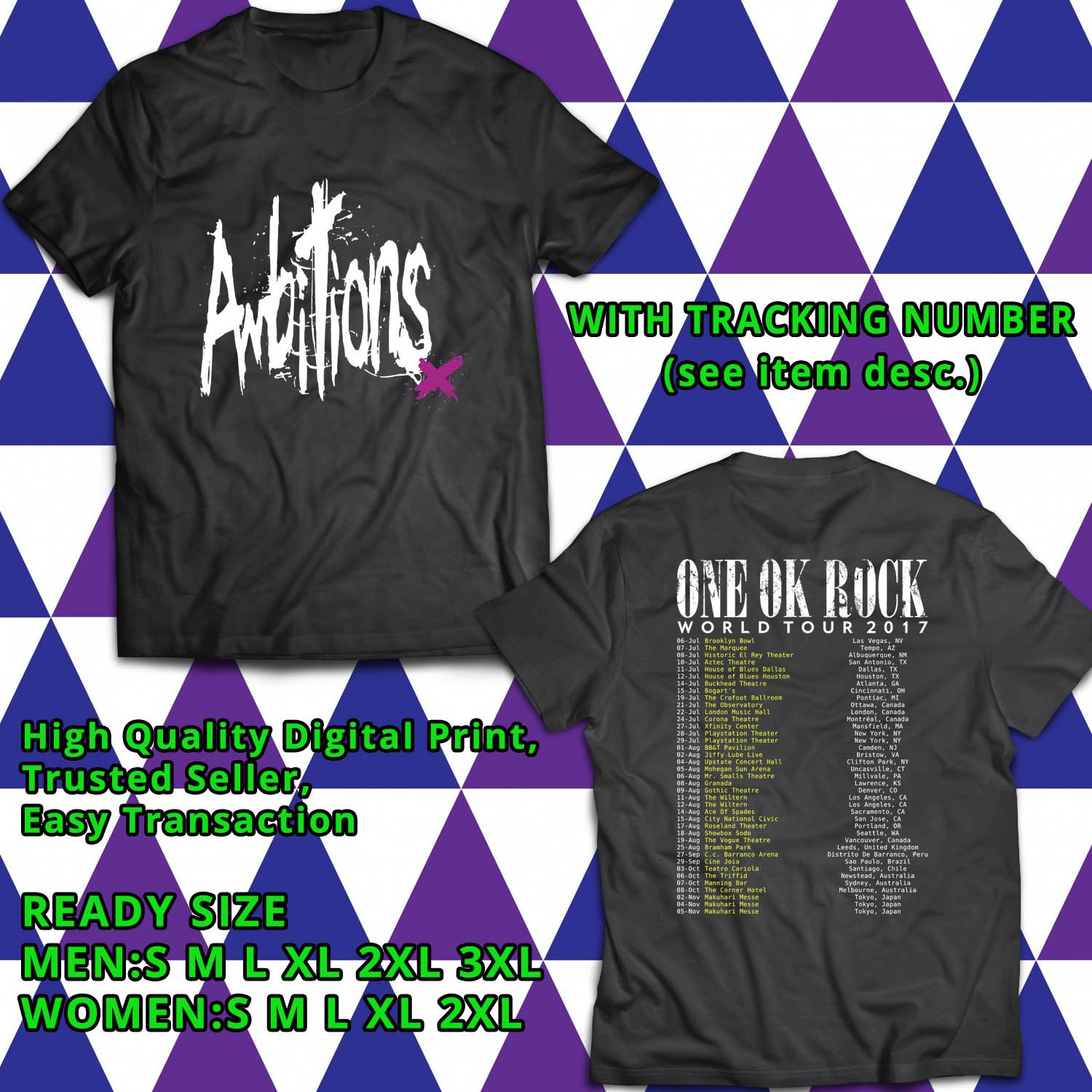 HITS ONE OK ROCK AMBITONS X TOUR 2017 BLACK TEE'S 2SIDE MAN WOMEN ASTR 276