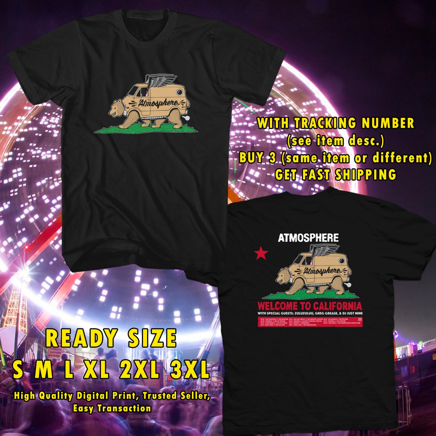 HITS ATMOSPHERE : WELCOME TO CALIFORNIA TOUR 2017 BLACK TEE'S 2SIDE MAN WOMEN ASTR