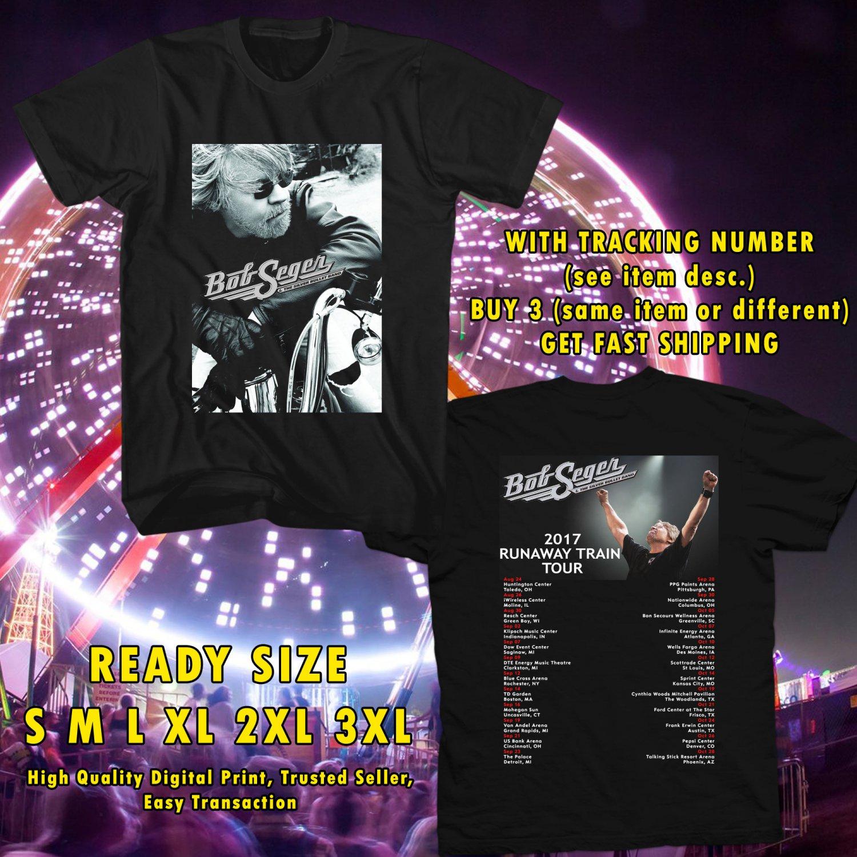 HITS BOB SEGER & THE SILVER BULLET BAND:RUNAWAY TRAIN USA TOUR 2017 BLACK TEE'S 2SIDE ASTR