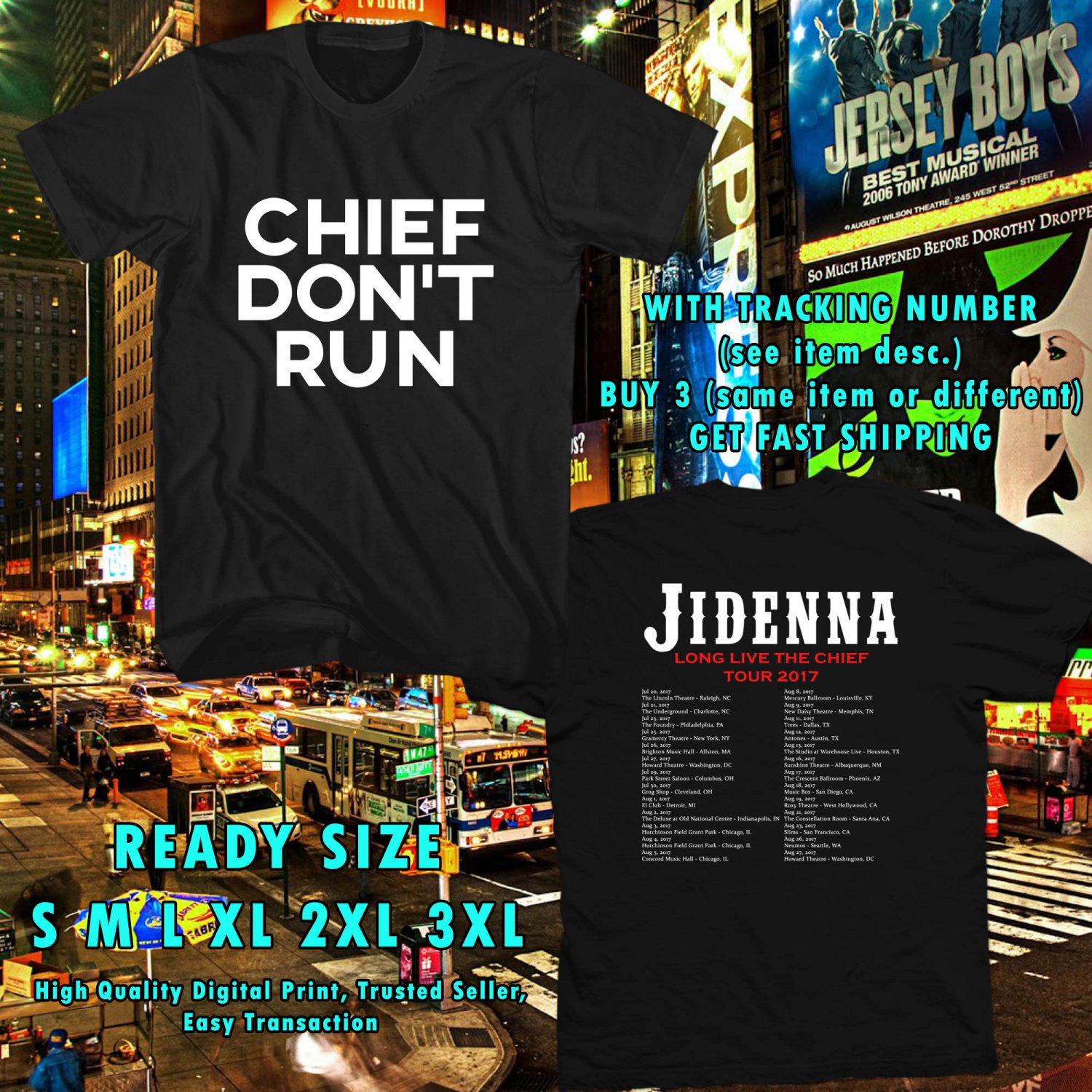 HITS JIDENNA LONG LIVE THE CHIEF TOUR 2017 BLACK TEE'S 2SIDE ASTR 113