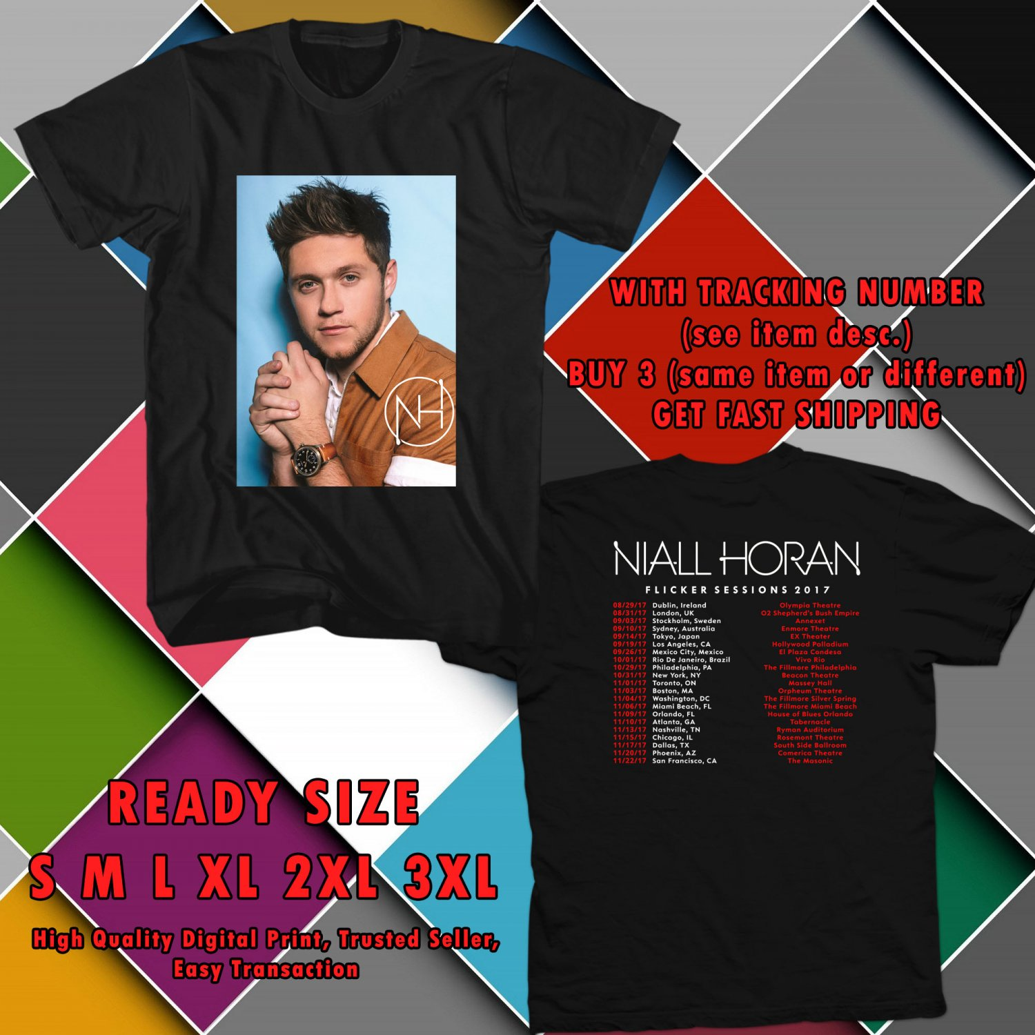 HITS NIALL HORAN FLICKER SESSIONS WORLD TOUR 2017 BLACK TEE'S 2SIDE MAN WOMEN ASTR 900
