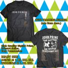 HITS JOHN PRINE TOUR 2017 BLACK TEE'S 2SIDE MAN WOMEN ASTR 998