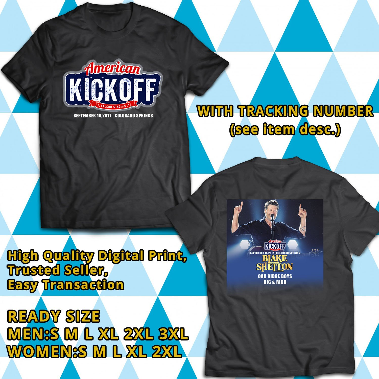 HITS AMERICAN KICKOFF WITH BLAKE SHELTON SEPT 2017 BLACK TEE'S 2SIDE MAN WOMEN ASTR