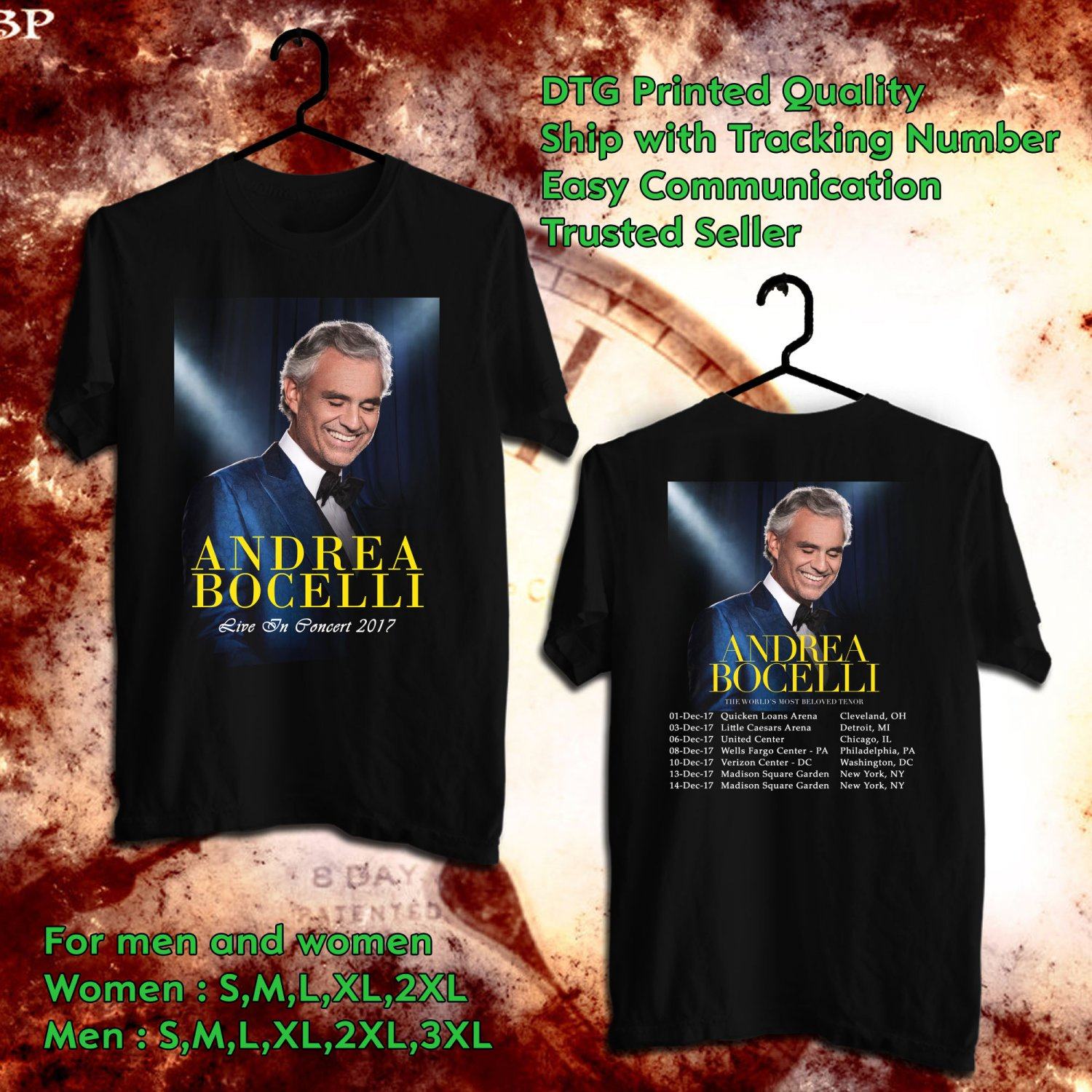 HITS ANDREA BOCELLI LIVE TOUR 2017 BLACK TEE'S 2SIDE MAN WOMEN ASTR 849
