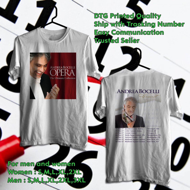 HITS ANDREA BOCELLI LIVE TOUR 2017 WHITE TEE'S 2SIDE MAN WOMEN ASTR 844