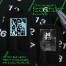 HITS MONSTA X THE 2ND WORLD ON US TOUR 2018 BLACK TEE'S 2SIDE MAN WOMEN ASTR